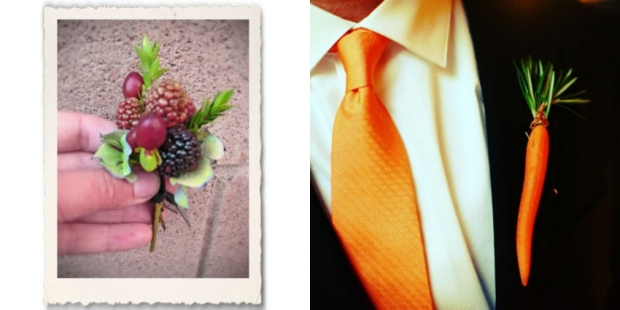 berry and carrot groom's boutonniere